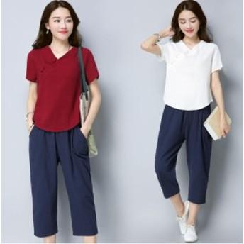 大きいサイズ カジュアル 上下セット セットアッププリントゆったり半袖Tシャツトップス+7分丈パンツ 夏用 レディース リンネル