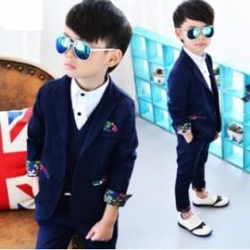 スーツセット 男の子 3点セットアップ 子供服 キッズ ジュニア男の子ドレス 入学式 卒業式 フォーマル 男児 結婚式100~150cm