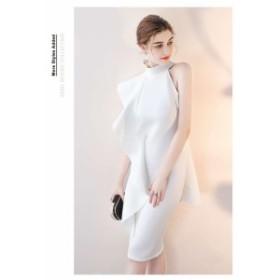 韓国 オルチャン ワンピース 切替 エレガント オフショルダー ワンピース ひざ丈 パーティー ドレス 結婚式 二次会 ホワイト