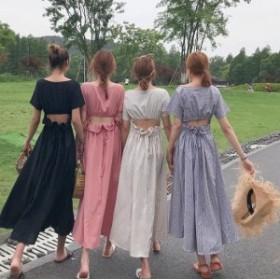 選べるカラー4種!半袖 ロングワンピース バックコンシャス♪