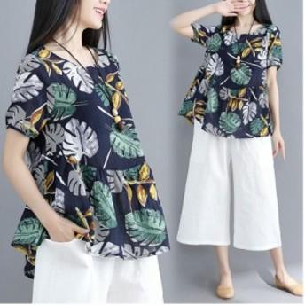 大きいサイズ カジュアル 上下セット セットアッププリントゆったり半袖Tシャツトップス+ガウチョパンツ 夏用 レディース リンネル