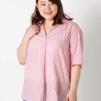 【大きいサイズレディース】【3-5L】【日本製】ストライプシャーリングシャツ トップス シャツ