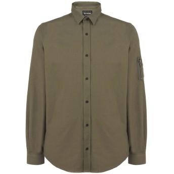 《セール開催中》THE KOOPLES SPORT メンズ シャツ ミリタリーグリーン M コットン 100% SHIRT WITH A CLASSIC COLLAR AND CHEST POCKETS