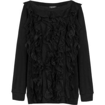 《セール開催中》TWINSET レディース スウェットシャツ ブラック XS 100% コットン レーヨン ポリウレタン シルク ナイロン