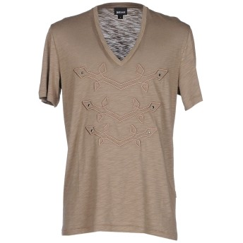 《セール開催中》JUST CAVALLI メンズ T シャツ カーキ S コットン 50% / レーヨン 50%