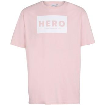 《セール開催中》HERO'S HEROINE メンズ T シャツ ライトピンク S コットン 100%