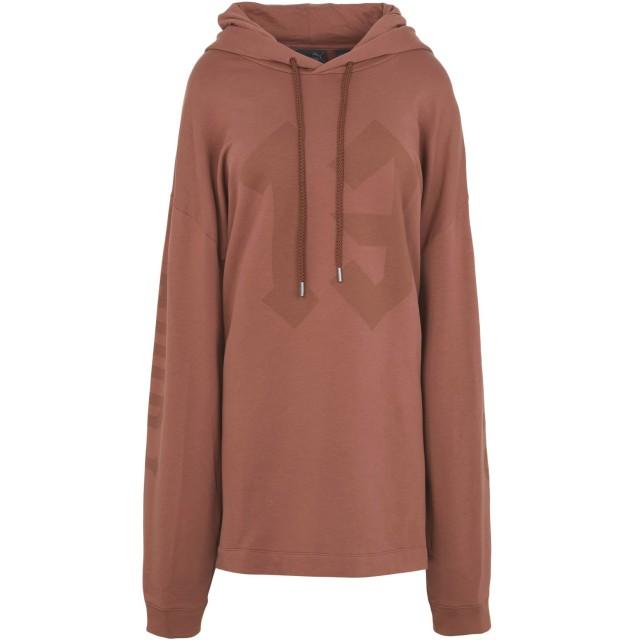 《期間限定セール開催中!》FENTY PUMA by RIHANNA レディース スウェットシャツ ブラウン 12 コットン 78% / ポリエステル 17% / ポリウレタン 5% LS GRAPHIC HOODY