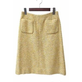 【中古】美品 CHANEL シャネル 00A ココマーク ワンポイント フレア ブュッシュ ラメ糸 ツイード ウール スカート 40 ホワイト