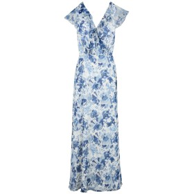 《期間限定セール開催中!》POLO RALPH LAUREN レディース ロングワンピース&ドレス アジュールブルー 8 シルク 100% Floral Silk Wrap Dress