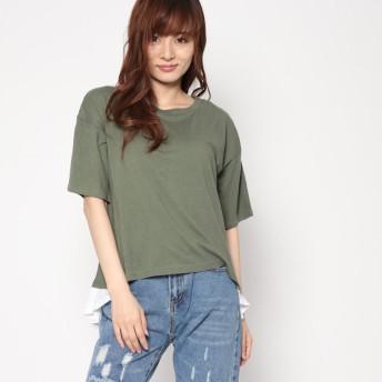 スタイルブロック STYLEBLOCK レースフリル付きTシャツ (カーキ)