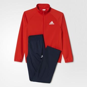 ジュニアスポーツウェア ウォームアップスーツ BOYS ジャージ上下セット (ストレートパンツ) ボーイズ adidas (アディダス) AAX01 BP8817 コアレッド S17
