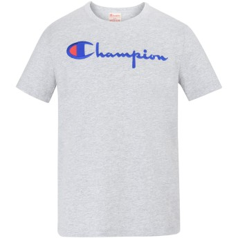 《期間限定セール開催中!》CHAMPION REVERSE WEAVE メンズ T シャツ ライトグレー S コットン 100% CREWNECK T-SHIRT LOGO