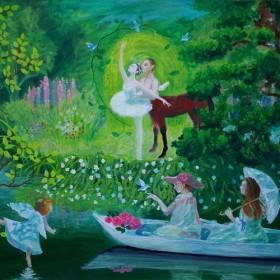 title「水辺の舞台」アクリル画、バレエ、バレリーナ、ボート、鑑賞、植物、花、天使、馬、ダンス、森