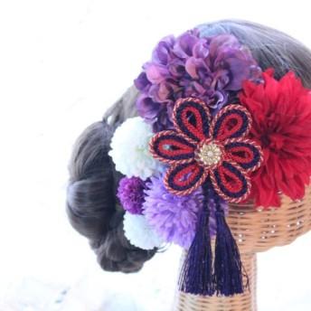 赤系和装髪飾り タッセル付き花の組紐飾り 成人式 卒業式 結婚式