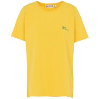 《セール開催中》ESSENTIEL ANTWERP レディース T シャツ イエロー 0 コットン 100% Pushme printed t-shirt