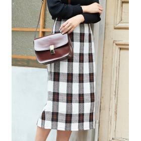 タイトスカート - titivate フェイクツイードチェックタイトスカート/ざっくりしたフェイクツイード素材/ボトムス/レディース/スカート/タイトスカート/ツイード/膝下丈/チェック