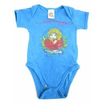 【中古】エドハーディー Ed Hardy ベビー ロンパース シャツ 半袖 コットン 子供 キッズ 青 0/3M メンズ