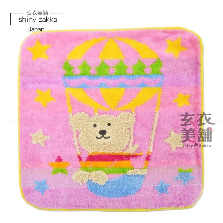 日本毛巾-Rainbow Bear彩虹熊小方巾-熱氣球/粉-玄衣美舖