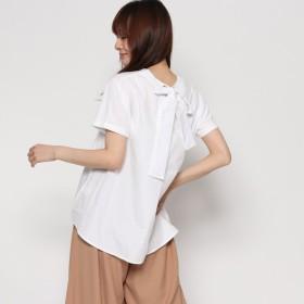 スタイルブロック STYLEBLOCK 天竺×ブロードリボン付きTシャツ (ホワイト)