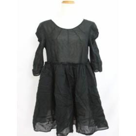 【中古】マザー mother ワンピース スカート フレアー シースルー 無地 5分袖 ブラック 黒 /YT24 レディース