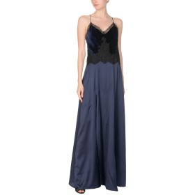《セール開催中》ANNA MOLINARI BLUMARINE レディース ロングワンピース&ドレス ダークブルー 44 シルク 93% / ポリウレタン 7% / レーヨン / ナイロン / コットン