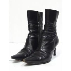 グッチ GUCCI ブーツ ショート ピンヒール ジップ レザー 36 1/2 ブラック 黒 /C レディース
