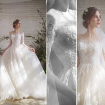 ウェディングドレス 結婚式 花嫁 ホワイトドレス 白 ボートネック レース チュール 花嫁ドレス ロング丈 編み上げ ブライダルドレス