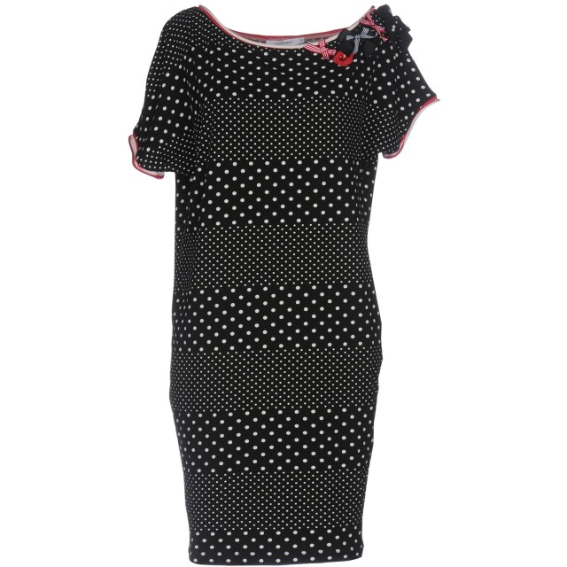 《セール開催中》CRISTINAEFFE レディース ミニワンピース&ドレス ブラック 44 コットン 95% / ポリウレタン 5%