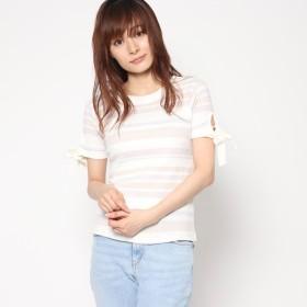 スタイルブロック STYLEBLOCK マルチボーダーリブリボンスリーブTシャツ (アイボリー)