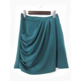 【中古】キワシルフィー KiwaSylphy スカート 0 緑 グリーン ポリエステル ドレープ 無地 シンプル バックファスナー Ω レディ
