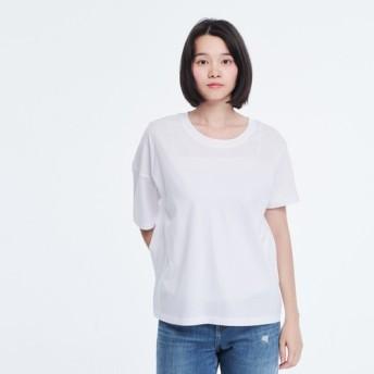 コットン 非対称 半袖 Tシャツ/ ホワイト