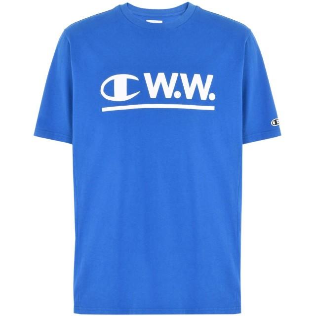 《期間限定セール開催中!》CHAMPION x WOOD WOOD メンズ T シャツ アジュールブルー S コットン 100% LOGO CWW CREWNECK T-SHIRT