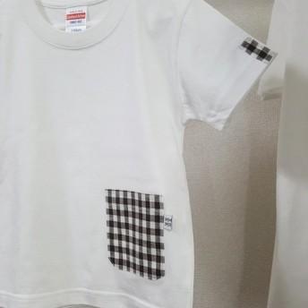 (キッズ110サイズ)茶色ギンガムチェック柄・ママミラ・ポケット付き白Tシャツ10000130