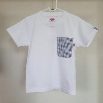 (キッズ110サイズ)タッタソール柄・ママミラ・ポケット付き白Tシャツ10000039