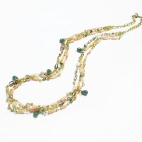 【Stier】ピンクコーラル(珊瑚) チューブ ネックレス