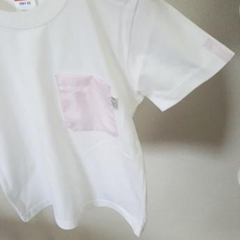 (キッズ120サイズ)うすピンク市松柄・ママミラ・ポケット付き白Tシャツ10000214