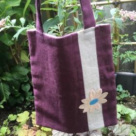麻のミニトート 紫 お花モチーフ