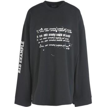 《期間限定セール開催中!》FENTY PUMA by RIHANNA レディース スウェットシャツ ブラック XS コットン 78% / ポリエステル 17% / ポリウレタン 5% LS GRAPHIC CREW NECK T-SHIRT
