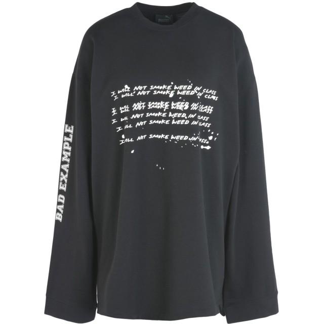 《期間限定 セール開催中》FENTY PUMA by RIHANNA レディース スウェットシャツ ブラック XS コットン 78% / ポリエステル 17% / ポリウレタン 5% LS GRAPHIC CREW NECK T-SHIRT