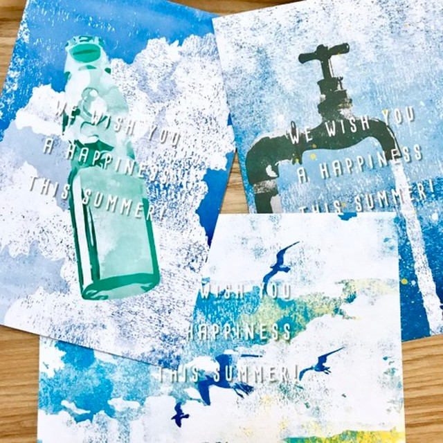 【暑中見舞い】『夏のBLUE』 ポストカード 3枚セット