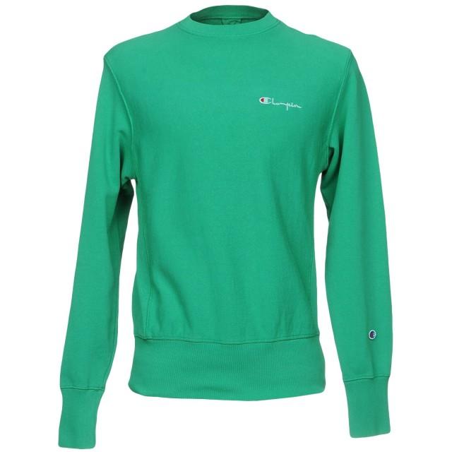 《セール開催中》CHAMPION メンズ スウェットシャツ グリーン S コットン 90% / ポリエステル 10%