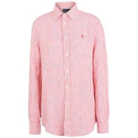 《期間限定セール開催中!》POLO RALPH LAUREN レディース シャツ レッド XS 麻 100% Relaxed Striped Linen Shirt