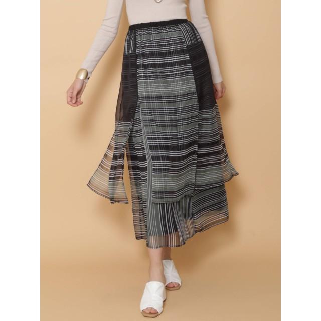 [LAGUNAMOON]ジオメトリックレイヤードパターンマキシスカート