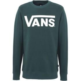 《期間限定セール中》VANS メンズ スウェットシャツ ダークグリーン S コットン 100% CLASSIC CREW