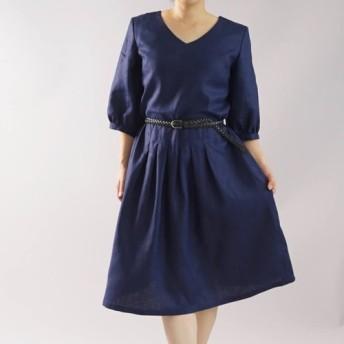 【wafu】中厚 リネン ワンピース Vネック 7分袖 タック ドレス 膝下丈/オリエンタルブルー a062f-obn2