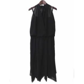 【中古】LAUTREAMONT BLACK ロートレアモン カシュクール ホルターネック キャミソール ヘム ワンピース 2 ブラック レディース