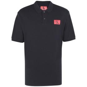 《送料無料》CALVIN KLEIN JEANS メンズ ポロシャツ ブラック S コットン 100% MONOGRAM LOGO PIQUE