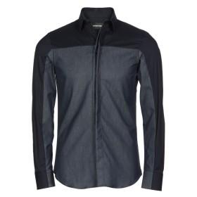 《期間限定セール開催中!》EMPORIO ARMANI メンズ デニムシャツ ブルー 39 コットン 55% / レーヨン 28% / キュプラ 14% / ポリウレタン 3%