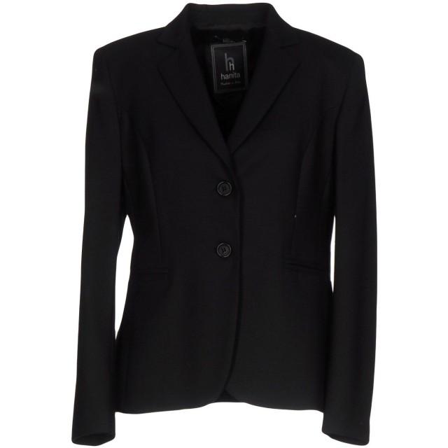 《セール開催中》HANITA レディース テーラードジャケット ブラック 46 53% ポリエステル 44% ウール 3% ポリウレタン
