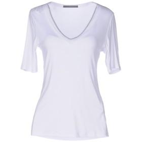 《セール開催中》LES COPAINS レディース T シャツ ホワイト 46 レーヨン 95% / ポリウレタン 5%